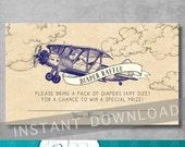 Vintage Airplane Baby Shower - Diaper Raffle Ticket Insert - DIY Printable - Airplane Theme - Blue - Invitation Insert - INSTANT DOWNLOAD