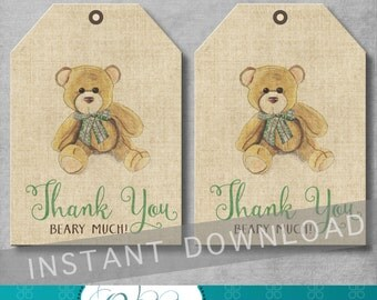 Vintage Teddy Bear Favor Tags - Teddy Bear Party - Baby Shower - Thank You Tags - Gift Tag - Gender Neutral - Printable - INSTANT DOWNOAD