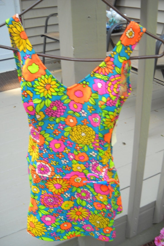 Vintage Bathing Suit, 1960's Bathing Suit, NOS Bathing Suit, Mod Swimwear, Hippy Bathing Suit with Tags, Retro Swim Suit