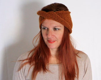 Orange rust headband, copper orange turban, orange earwarmer, chunky earwarmer, chunky turban, Phyllis, ready to ship