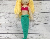Sirena the Mermaid, Crochet Mermaid Stuffed Animal, Mermaid Amigurumi, Plush Animal, Ready to Ship