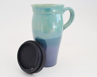 Ceramic Travel Mug with Lid and Handle, 24 oz Stoneware Coffee Mug, Large To Go Tea Mug with Sippy Lid, Made to Order