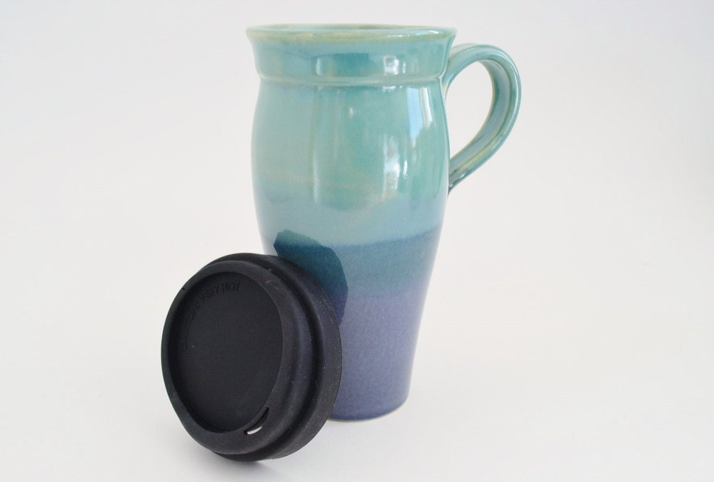 Ceramic Travel Mug With Lid And Handle 24 Oz Stoneware Coffee