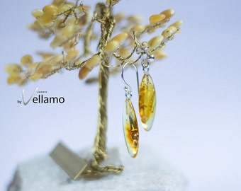 Sterling silver earrings with natural Baltic amber, transparent honey yellow amber with inclusions, delicate Amber  stud ear-rings