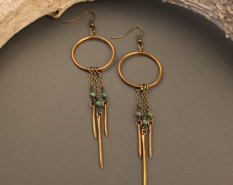 Gypsy brass earrings with turquoise- elegant, edgy brass circle earrings with drops, dreamcatcher inspired minimal boho earrings