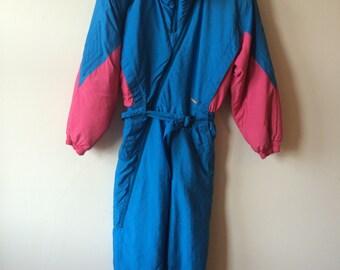 Après-ski 80s Colmar Pink & Blue Ski Jumpsuit Onesy Womens Medium