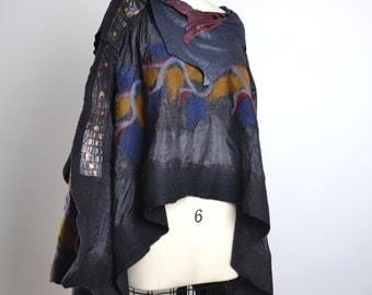 Merino Wool Felted poncho- Nuno Felted Poncho - Women's Poncho - Ponchos - Women's Clothing