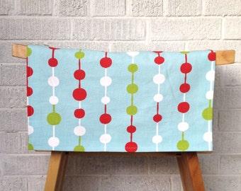 Festive Christmas Table Runner, Blue, Red, Green Baubles