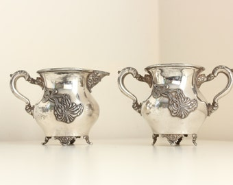 Art Nouveau Cream & Sugar Set in Heavy Silverplate, Shabby Chic Floral Pattern #919, by Knickerbocker Silver Co.