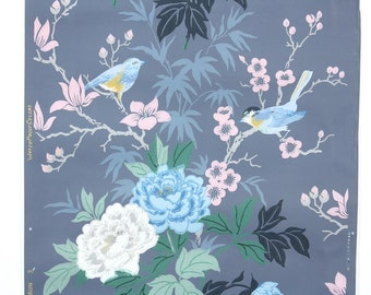REMNANT of Vintage Wallpaper, Single 30 Inch Piece - Segmant of Floral Wallpaper with Birds Branches and Pink White and Blue Flowers on Navy