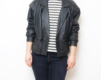 Vintage black leather women crop 80s jacket