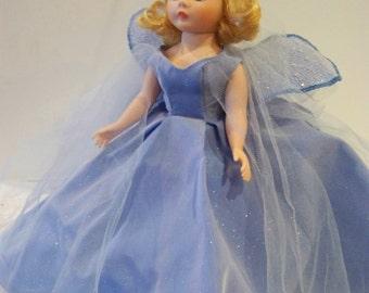 medium blue fairy Madame Alexander 10 in with custom stand