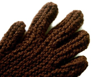 Hand Knitted Gloves, Cocoa (Medium) Brown Gloves With Fingers, Free US Shipping