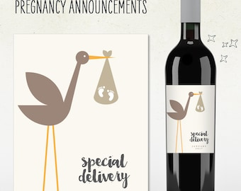 Pregnancy Announcement! Custom Wine Label (Personalized) SPECIAL DELIVERY stork, baby feet, due date