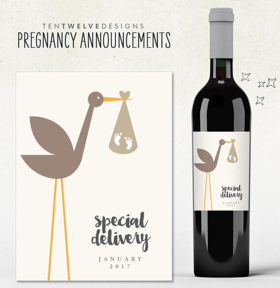 Très Annonce de grossesse Custom cigogne livraison spéciale vin EH31