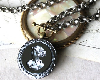 Vintage Cameo Necklace, Intaglio Jewelry, Hematite, Charcoal Grey, Modern Cameo Jewelry, Toggle Necklace, Upcycled Jewelry veryDonna