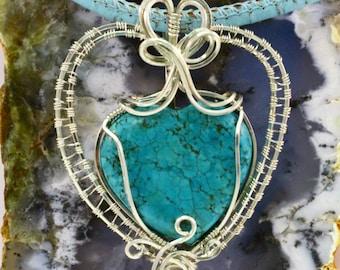 Heart Pendant Turquoise Color Heart Heart Pendant Women's Heart Pendnt Howelite Heart Pendant Sterling Silver Pendats