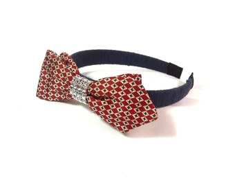 Vintage Silk Headband - Designer Bowtie Hair Accessory - Red White Blue Bow Headband - Vintage Bow Tie Headband - Retro Bow Hair Accessory