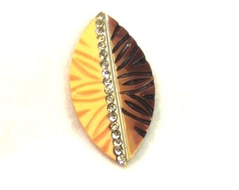 Vintage Celluloid Dress Clip - Rhinestone Dress Clip - Celluloid Jewelry - Rhinestone Jewelry - Retro Fur Clip - Cap Clip - Abstract Jewelry