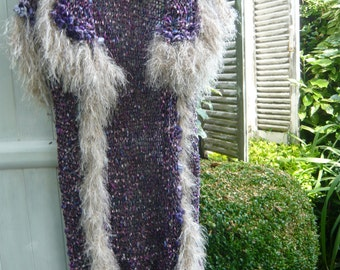 Handknitted long coat cardigan vest jacket violet purple color sleeveless with a crocheted cream fur psychedelic hippie style OOAK