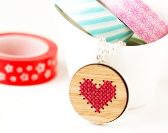 DIY Cross Stitch Jewelry Kit, Stitched Heart Necklace w/ Silver Tray, Embroidered Jewelry, DIY Jewelry, Modern Cross Stitch, Valentine's Day
