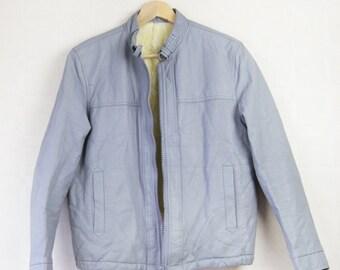 70s vintage men mouse grey faux leather fur shearling warm winter motorcycle jacket coat S-M