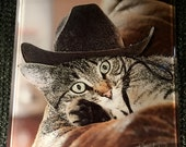 """Glass Tile or Coaster - Cat 'Rodeo Girl' 4.25"""" x 4.25"""""""