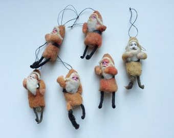 6 Vintage Spun Cotton Santa Christmas Ornaments (Made in Japan)