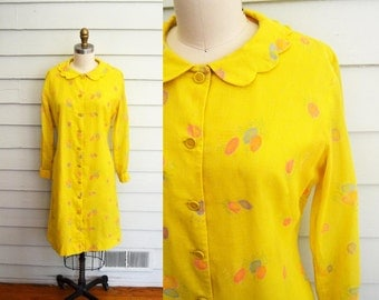 AMAZING vintage 1960s novelty print dress or coat / rare mod Susan Kent of Miami yellow dress with floral print / extra small to medium