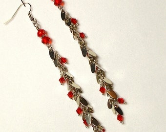 Swarovski Red Siam Crystal With Silver Tag Chain Long Drop Earring, Red Crystal Earring, Long Chain Drop Earring, Red Earring