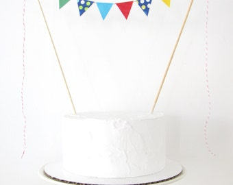 Cars Cake Topper - Fabric Cake Bunting - Wedding, Birthday Party, Shower Decoration, primary colors red blue yellow green dots automobiles