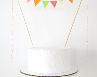 Bright Citrus Cake Topper - Fabric Bunting, Birthday Party, Wedding, Baby Shower Decor, orange coral lime green floral dots tropical summer