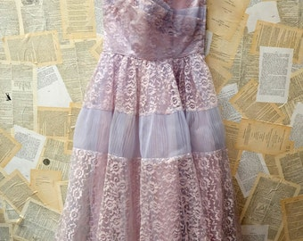 Designer 1950s Lilac Lace and Tulle Dress