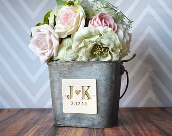 PERSONALIZED Flower Girl Bucket in antique grey color with Initials