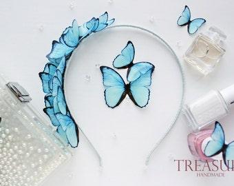 Bridal headband with light blue butterflies, blue bridal headband, butterfly bridal headband, blue wedding headbands, blue bridal headpiece
