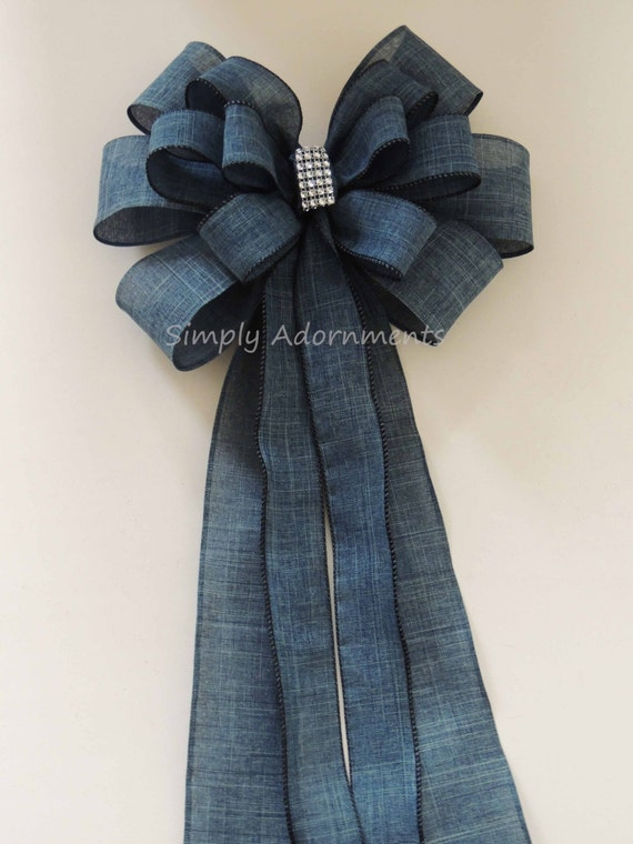 Denim Blue Wedding Bow Burlap Denim Blue Wedding Chair Bow Country Wedding Aisle Decor Denim Burlap Wedding Bow Rustic Denim Burlap Bow