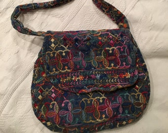Vintage Embroidered Cordoroy Purse