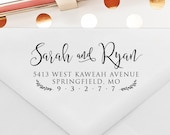 Return Address Stamp, Leaves and Vines, Self Ink, Custom and Personalized Stamp, Wedding Gift, Wedding Stamp, Calligraphy Stamp  (T334)