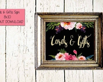 Gold and Floral Wedding Sign-Cards and Gifts Sign- Wedding Reception Sign- INSTANT DOWNLOAD