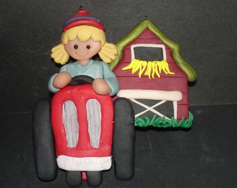 Tractor Farm Christmas Ornament Hay Barn Polymer Clay Milestone Cake Topper Girl Farmer Fall Harvest Spring Planting Ranch Chores Dairy Cow