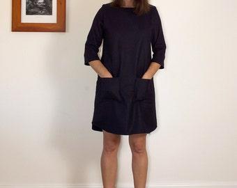 Navy winter wool womens shift dress