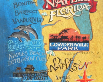 Naples Florida beach  map  Print, florida art