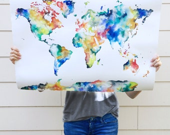 NEW! 20x30 Watercolor World Map Print, Large World Map, Watercolor World Painting