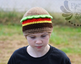 ALL SIZES Burger Crochet Beanie Hamburger Cheeseburger