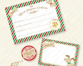 Christmas Puppy Adoption Certificate Printable Kit Holiday Party Paw pawty favor favors stripes plaid woof bone instant download pdf digital