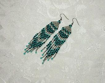 Long Beaded Fringe Earrings. Checkered Earrings. Long Beaded Earrings. Hand Beaded Earrings. Teal & Silver Earrings. Black Beaded Earrings.