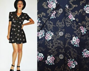 1980s Black Floral Print Mini Dress