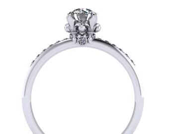 Fleur de Lis Diamond Engagement Ring 14K Gold