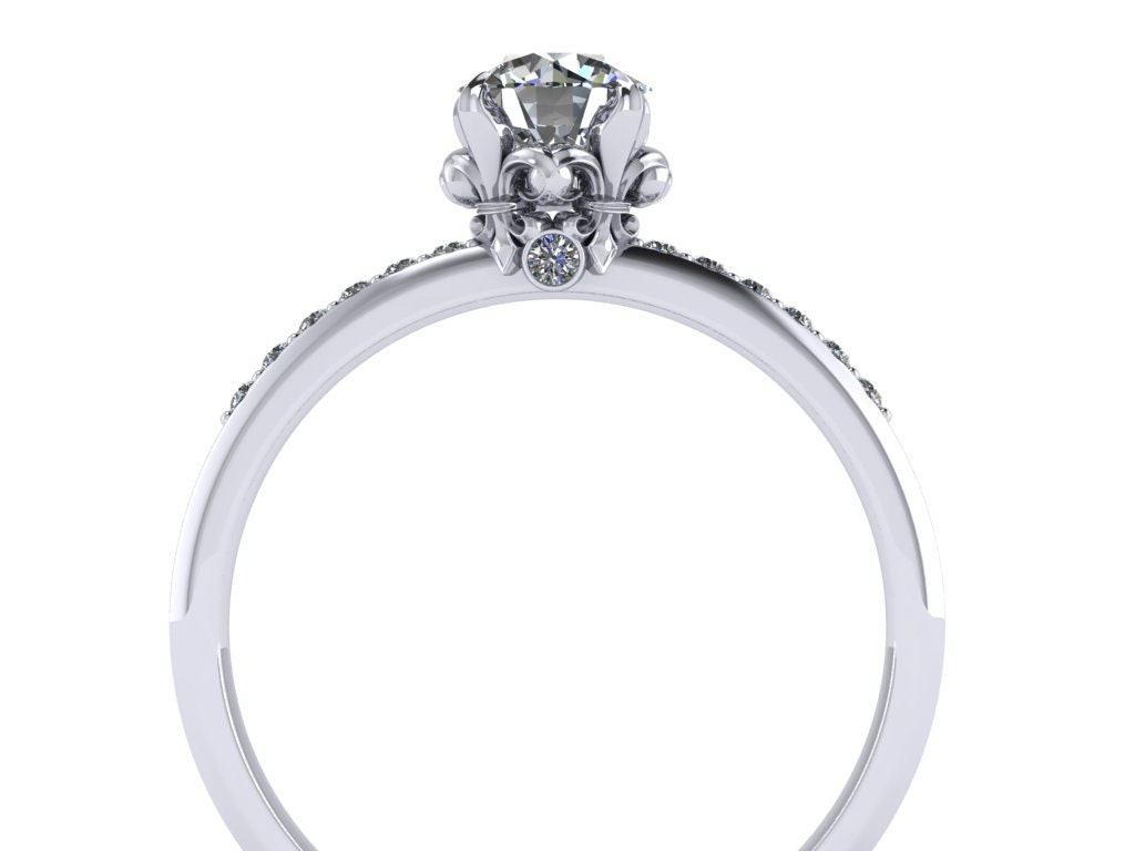 fleur de lis diamond engagement ring 14k gold With fleur de lis wedding rings