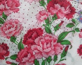 Beautiful Vintage Ladies Hankie with Carnations and Scalloped Edges   Handkerchief
